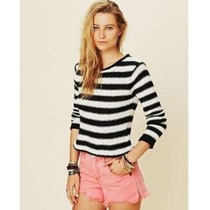 Free People Beach Striped Knit Crop Sweater